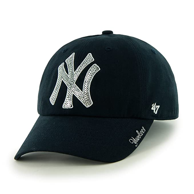 new style f172c 4603a MLB New York Yankees Women's Sparkle Team Color Cap, One-Size, Navy