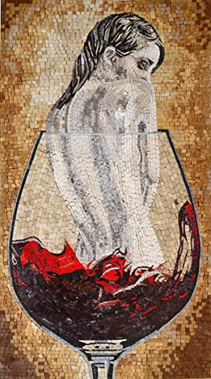 Nude Woman in Wine Glass Fantasy Art Marble Mosaic Mural
