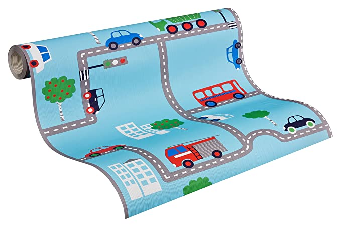 A.S. Création Papiertapete Boys and Girls Ökotapete Tapete Kindertapete 10,05 m x 0,53 m blau bunt Made in Germany 936321 936