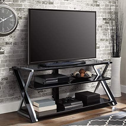 Amazoncom Black Silver Flat Screen Tv Stand Console 70 Inch