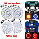 2 Inch LED Turn Signal Kit 1157 Base White/Amber Front Turn Signal Bulbs + 1157 Double Connector Red Rear Turn Signal…