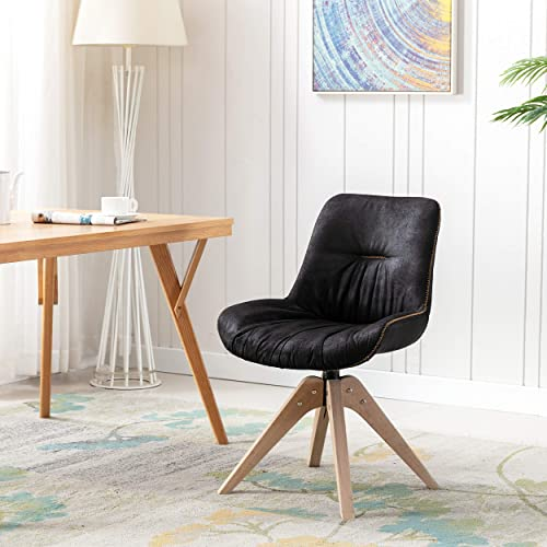 KINWELL Swivel Accent Chair Contemporary Armless Suede Side Chair Dining Chair