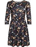 LaVieLente 3/4 Sleeve High Waist Jersey Fabric Dinosaur Dress with Elastic Waist