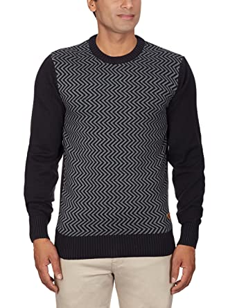 Redchief Men's Cotton Sweater (8410100 -104_Medium_Black and Grey ...