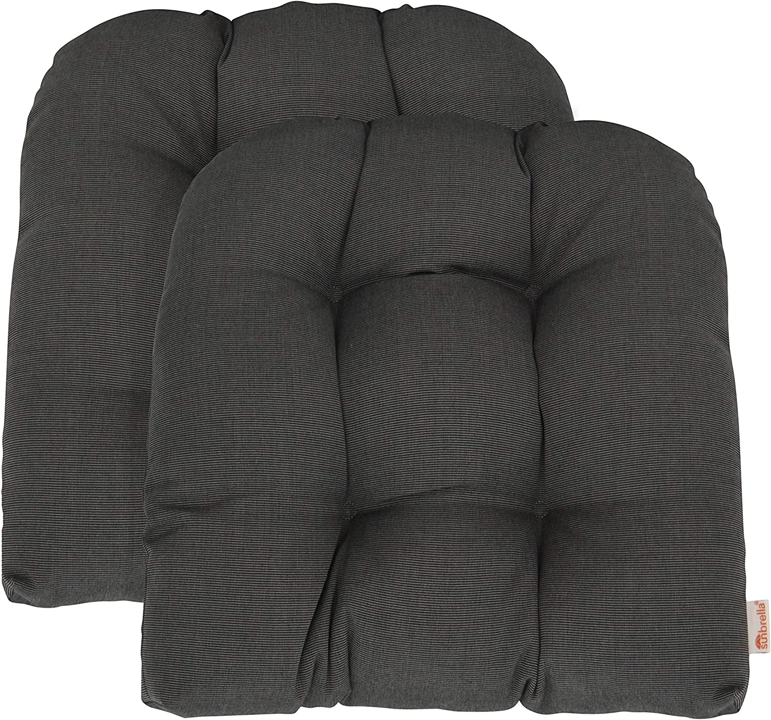 "RSH Décor Indoor ~ Outdoor Sunbrella Canvas Coal Large(21""W x 21""D) Tufted Wicker - 2 U-Shaped Chair Cushions ~ Dark Grey/Gray"