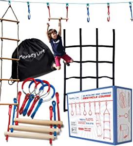 Ninja Warrior Obstacle Course for Kids - 50 ft Slack Line 9 Obstacles – Ninja Slackline Obstacle Course for Kids Backyard – Ninja Warrior Training Equipment for Kids Monkey Bars, Monkey Ladder & More!