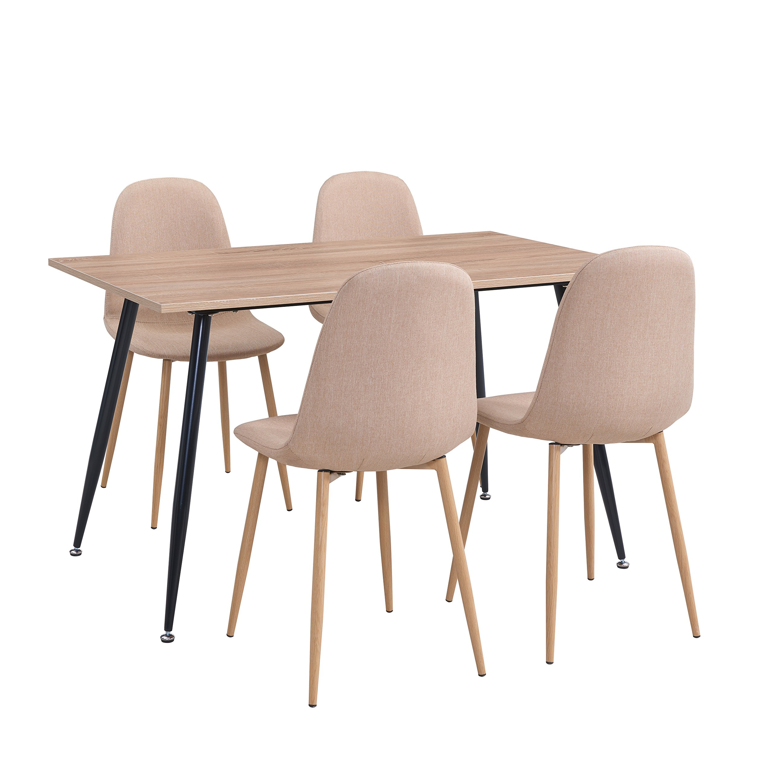 Ids Home Kitchen Dining Room Chair Set For 6 People Wooden Look Pattern Dining Table Side Chairs With Fabric Cushion Seat