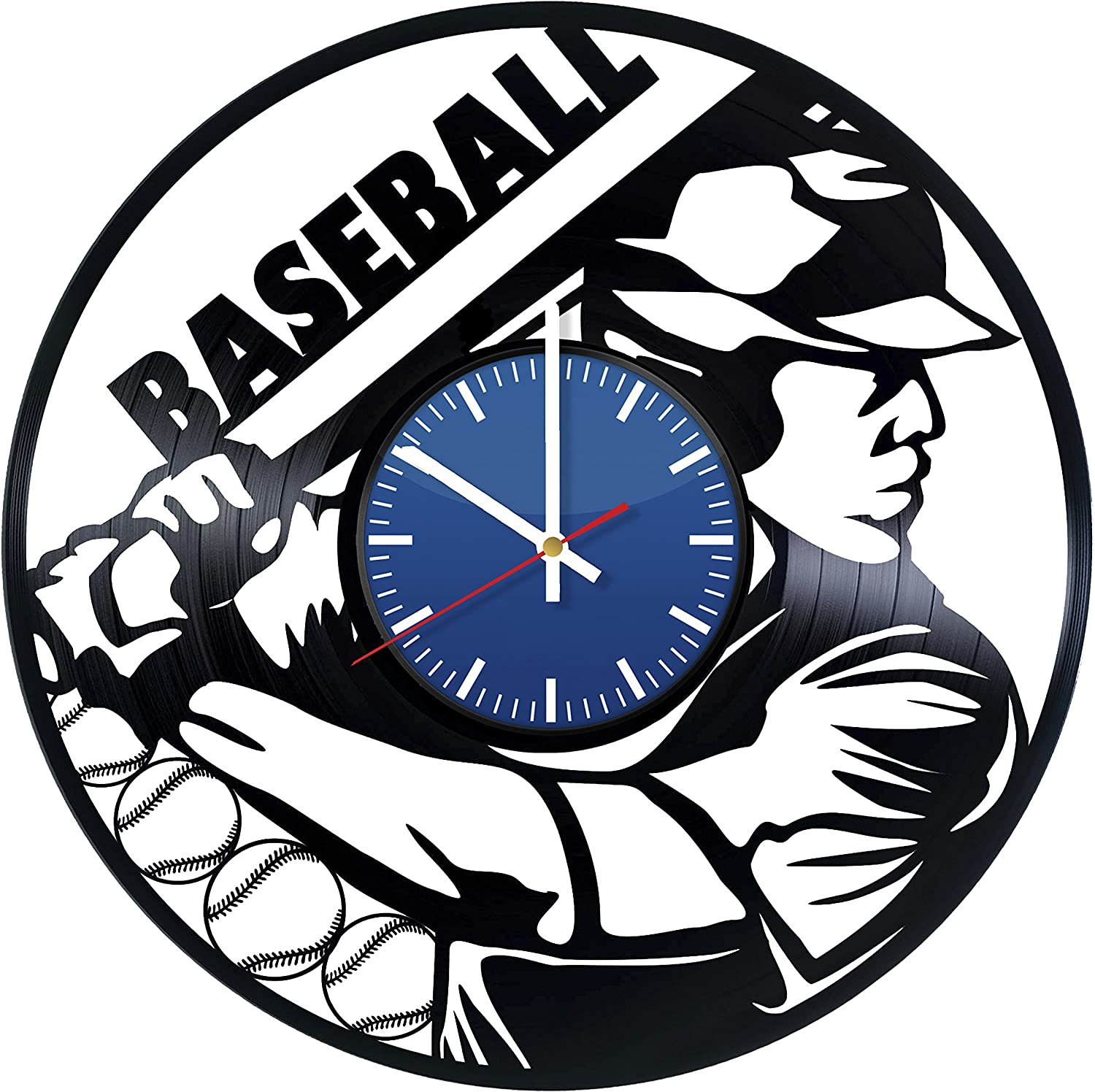 Baseball Design Vinyl Record Wall Clock - Contemporary and Creative Bedroom Wall Decor - Modern Sport Fan Art - Best Gift Idea For Adults and Youth
