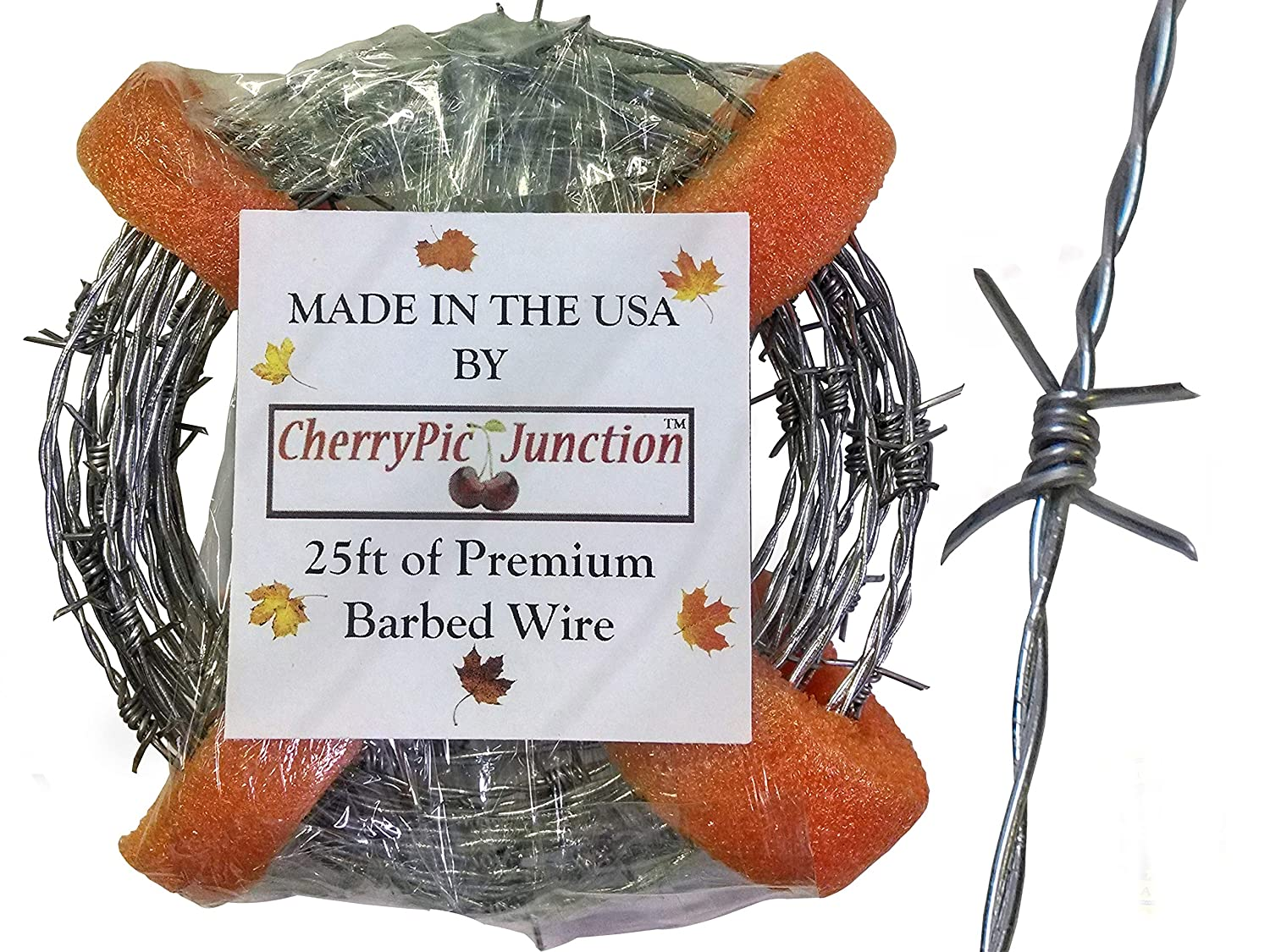 50 Feet Real Barbed Wire - Light Duty 18 gauge 4 pt MADE IN USA - Wire for Crafts CherryPic Junction