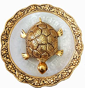 Pinnacle Charmy Crafts Golden Feng Shui Metal Tortoise with Metal and Glass Plate showpiece, Lucky Charms Good Omens Good Health Save Now