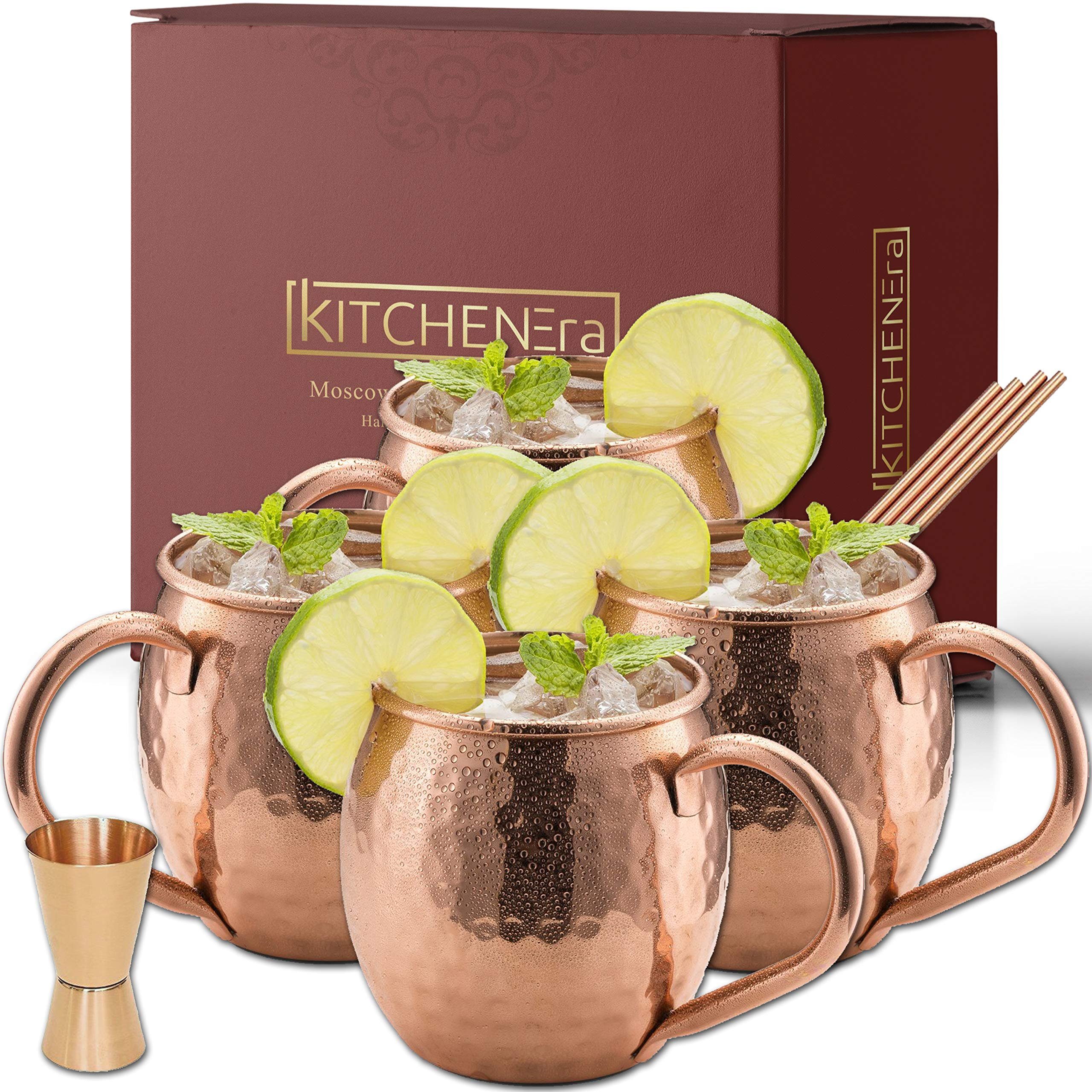 Moscow Mule Copper Mugs - 100% Copper HandCrafted Hammered Moscow Mule Copper Mugs Set of 4 - FREE Jigger - FREE Copper Straws