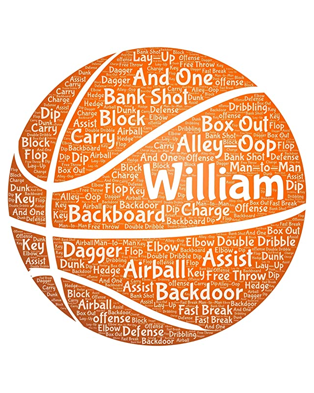 Basketball Wall Decor for Boys Room - Personalized basket-ball Gift for men - Sports Typography Wordle Wordart Portrait Wall Decor Print 8x10 Inch…
