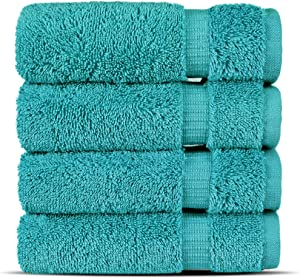 Chakir Turkish Linens Hotel & Spa Quality, Highly Absorbent 100% Cotton Turkish Washcloths (4 Pack, Aqua)