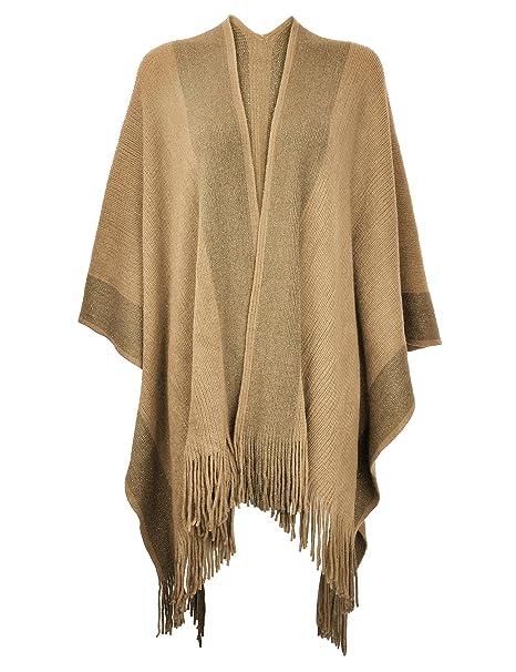 ZLYC de la mujer chal Golden Trim Knit manta Wrap flecos Poncho capa chaqueta - Beige - : Amazon.es: Ropa y accesorios