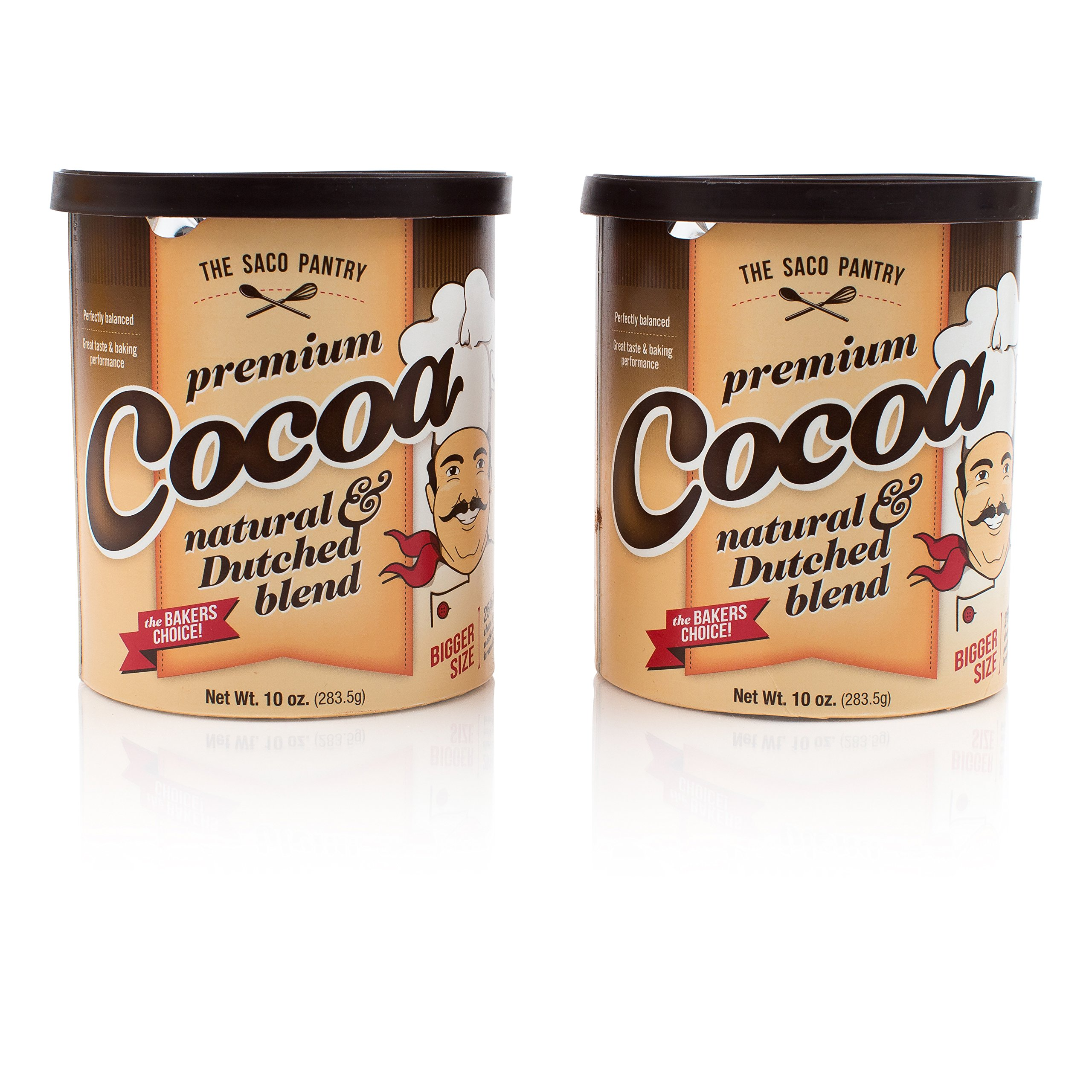 SACO Pantry Premium Cocoa, Natural and Dutched Blend, Certified Kosher, Gluten-Free, Nut-Free, 10oz, Pack of 2