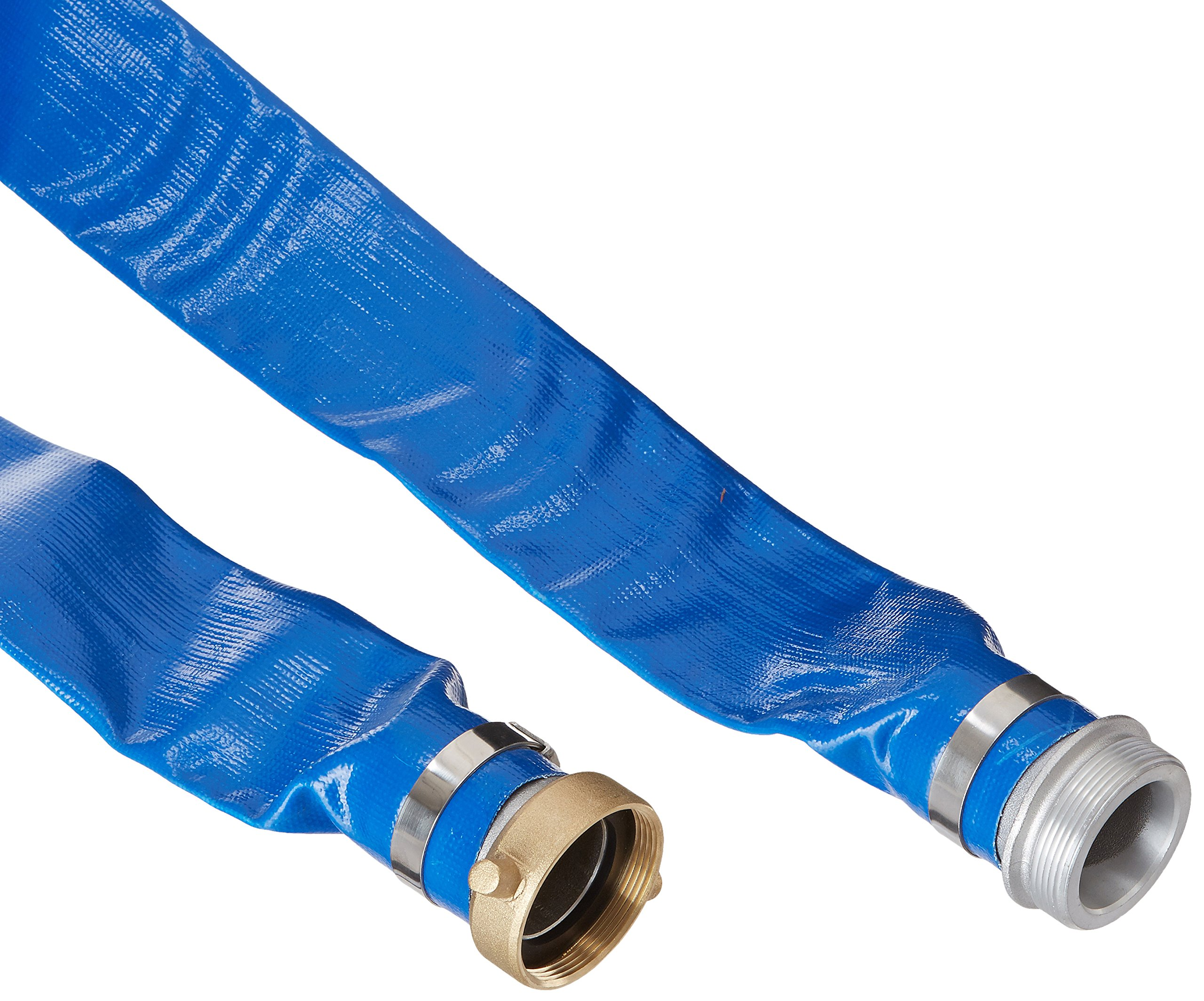Apache 98138040 2'' x 25' Blue PVC Lay-Flat Discharge Hose with Aluminum Pin Lug Fittings
