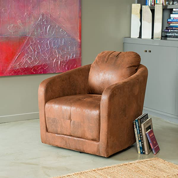 Great Deal Furniture Bernhoft | Aged Microfiber Swivel Club Chair | in Distressed Brown