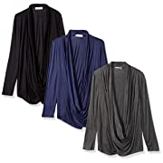 Free to Live Women's Criss Cross Cardigans, Black/Charcoal/Navy, XL (Pack of 3)