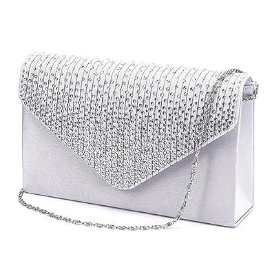 7cc5e34039a Large Women Evening Satin Bridal Diamante Ladies Clutch Bag Party Prom  Envelope: Amazon.co.uk: Shoes & Bags