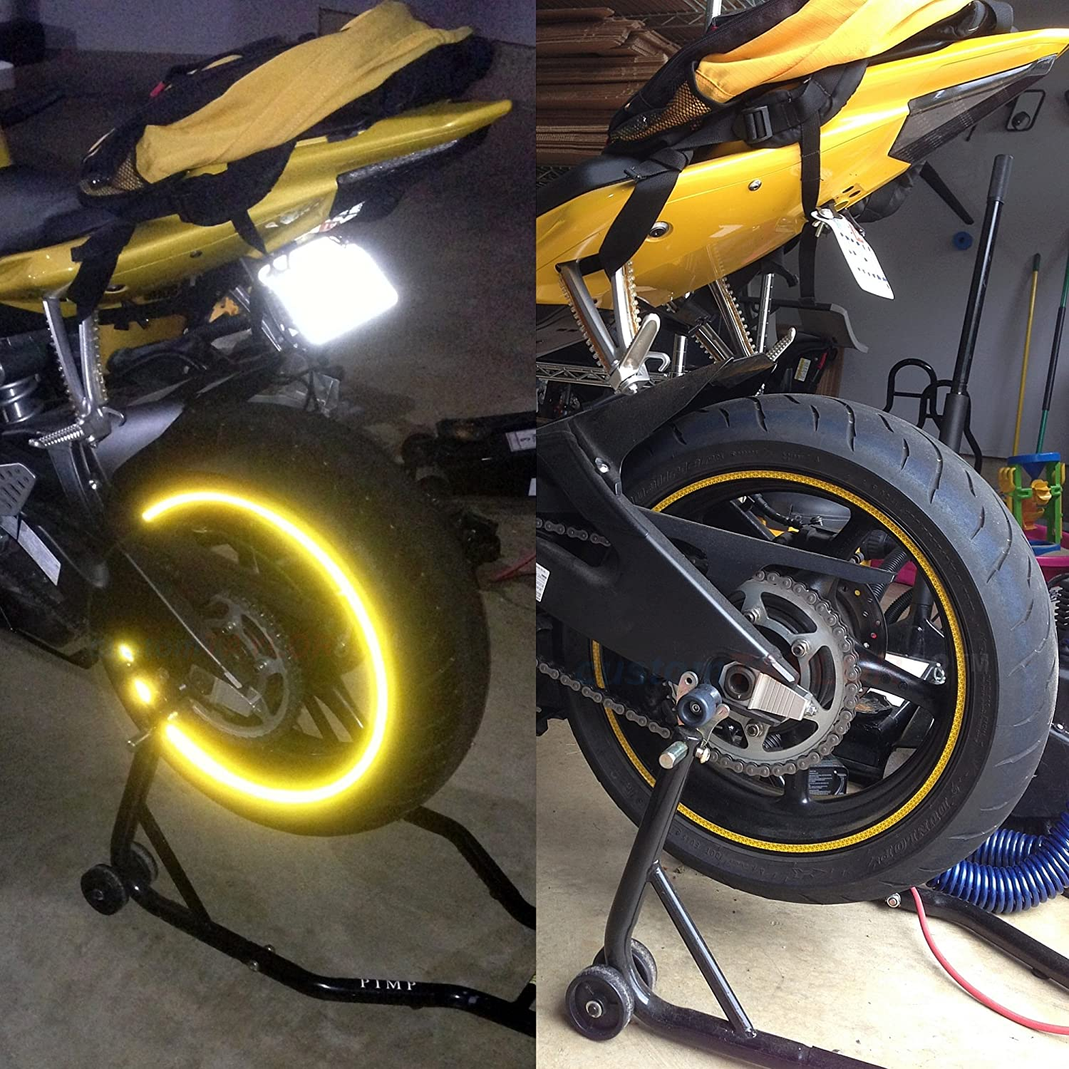 Must Select Your Rim Size Combination Rim Size All Vehicles Yellow//Gold High Intensity Grade Reflective Copyrighted Safety Rim Tapes 15//19 customTAYLOR33