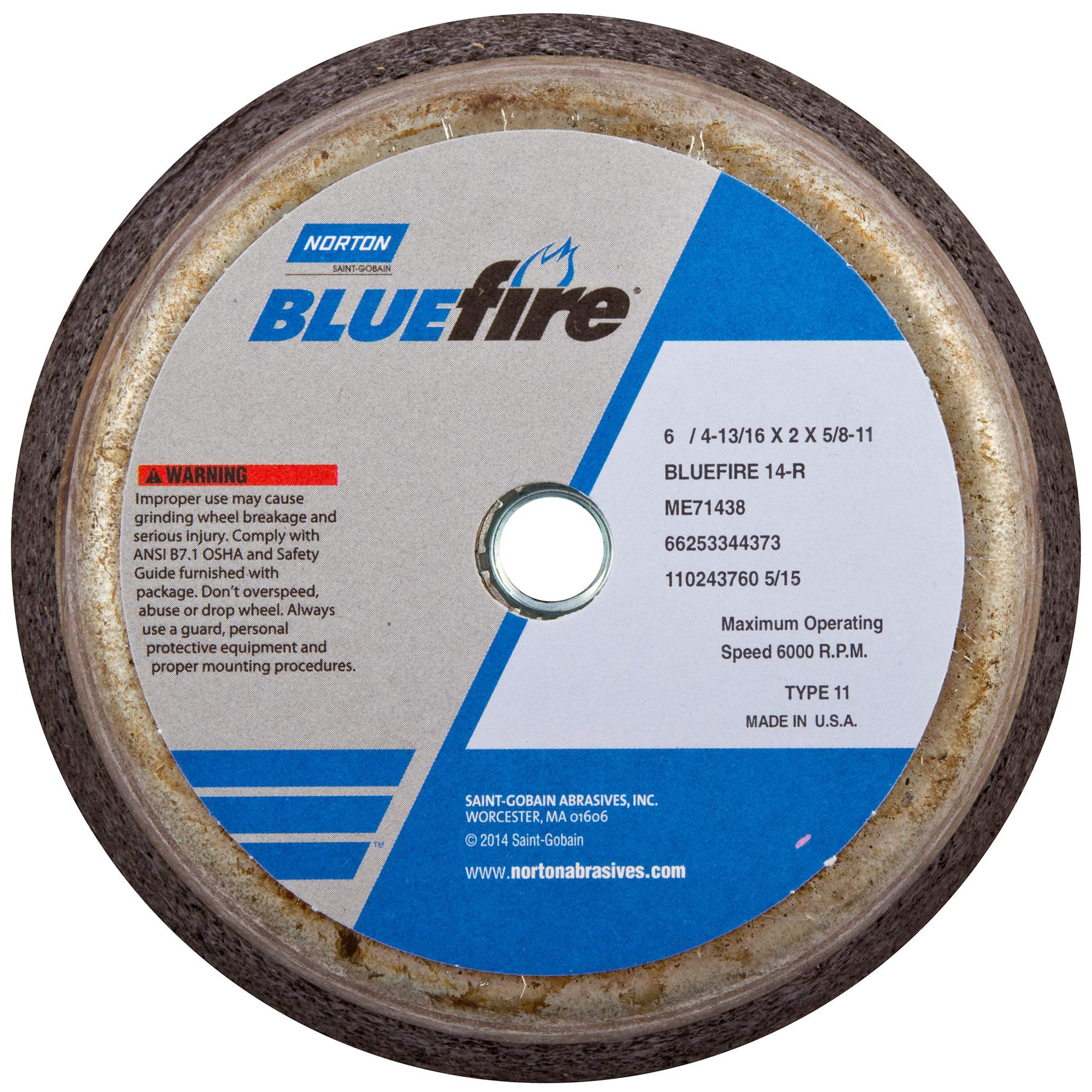 Norton 547-66253198586 Bluefire Snagging Cup Wheel, 6 in. Dia., 2 in. Thickness, 16 Grit by Norton