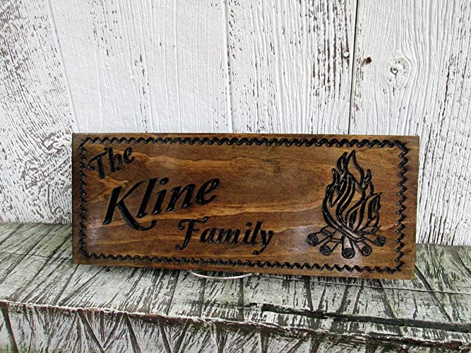 Last Name Sign With Camp Fire Family Camper Campsite Sign Custom Carved Wooden Signs C101