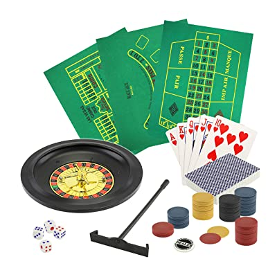 5 in 1 Deluxe Casino Game Set | Set Includes: Poker, Blackjack, Roulette, Craps, Playing Cards: Toys & Games