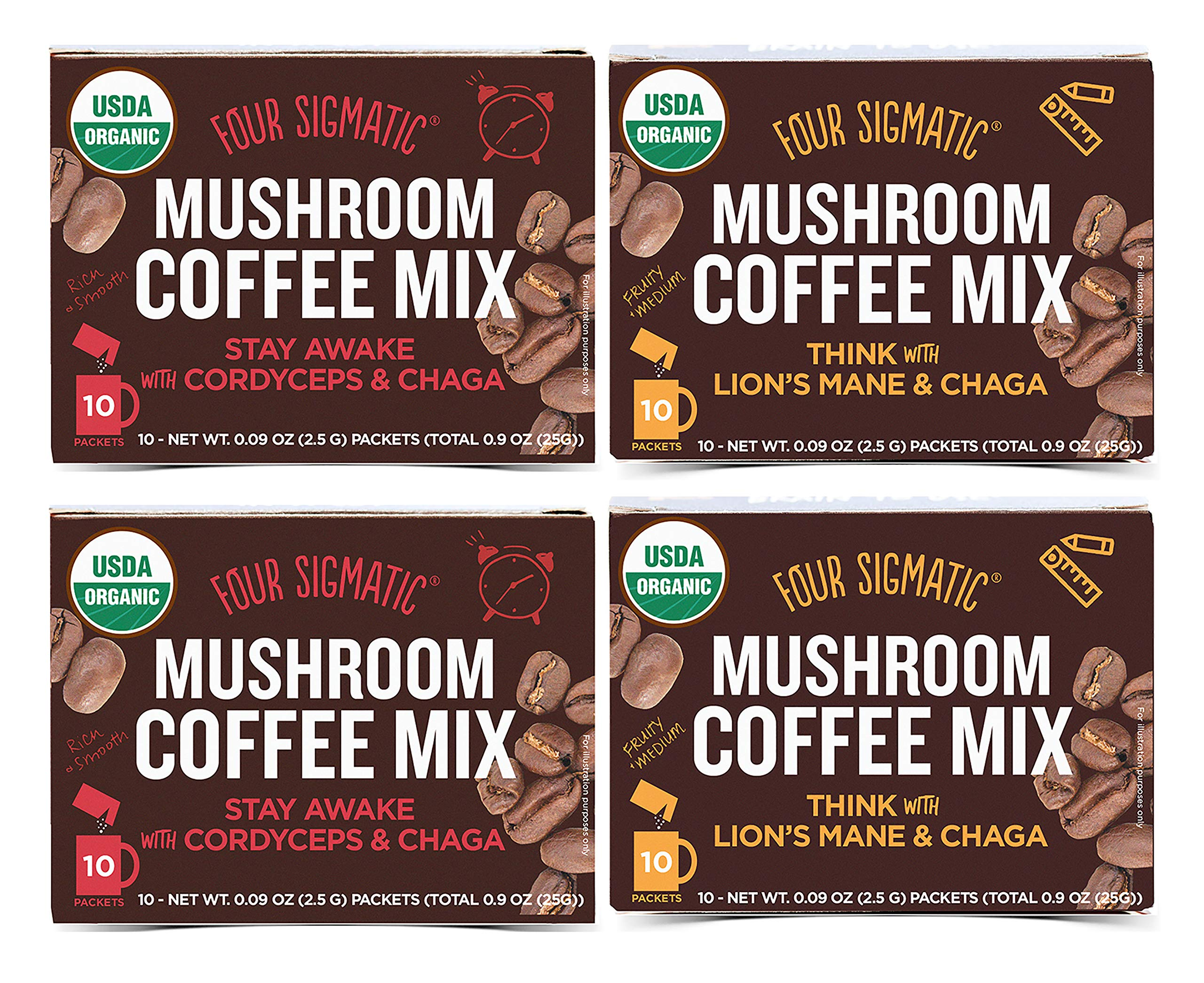 Four Sigmatic Mushroom Coffee Mix Pack of 4 - Lion's Mane and Chaga & Cordyceps and Chaga - 10 Packets Per Box by Four Sigmatic