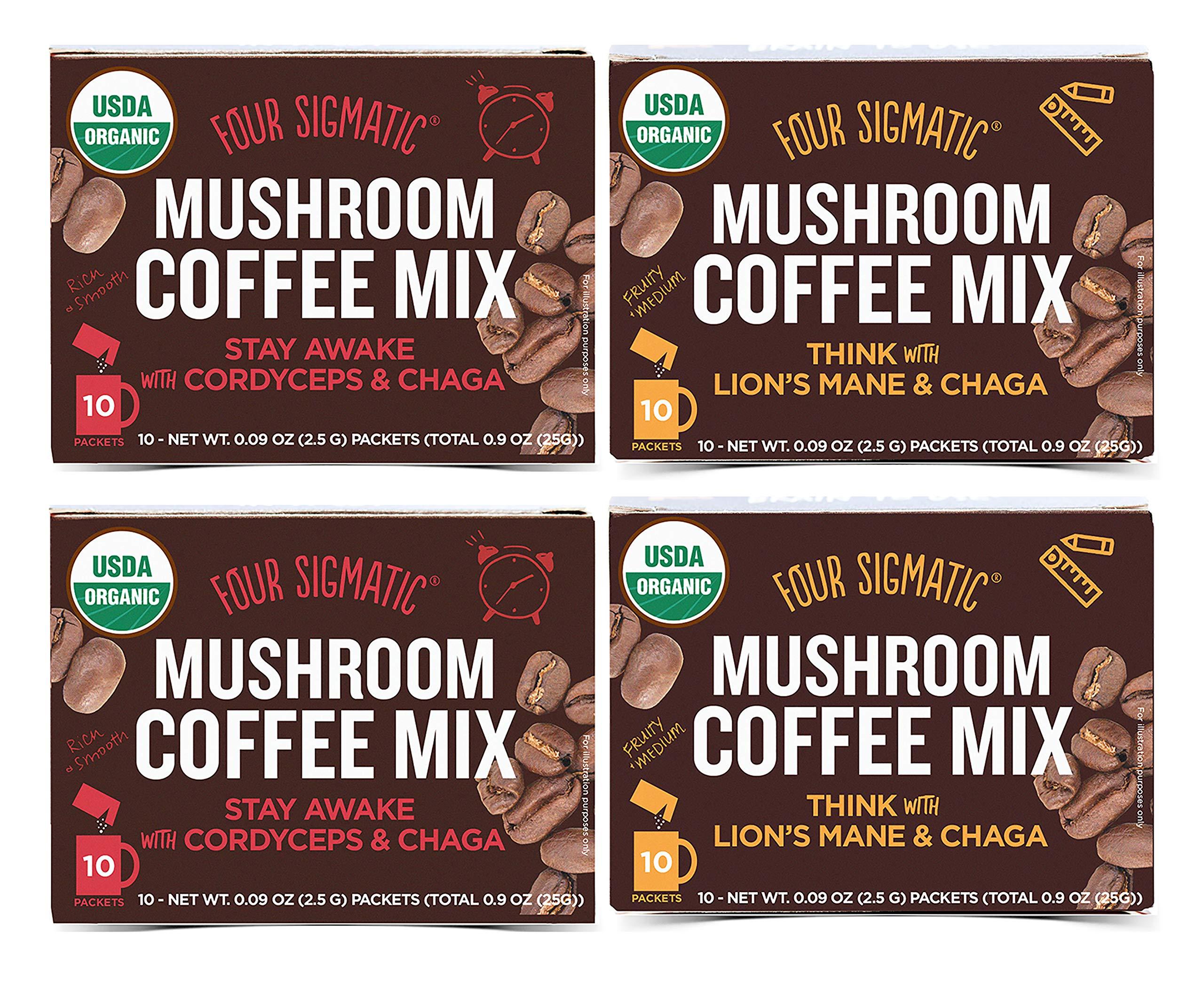 Four Sigmatic Mushroom Coffee Mix Pack of 4 - Lion's Mane and Chaga & Cordyceps and Chaga - 10 Packets Per Box