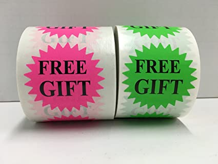 500 labels 2 starburst green free gift mailing retail stickers