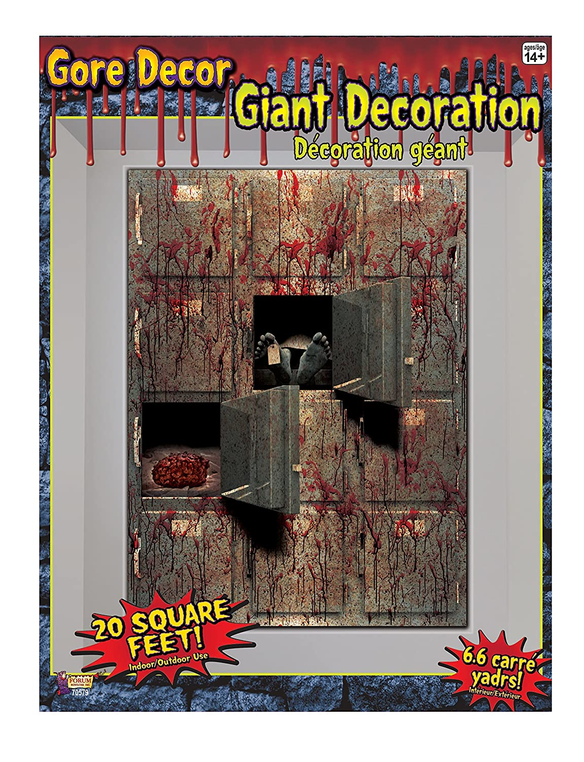 amazoncom forum novelties gore decor indooroutdoor morgue wall decoration 5 multicolor kitchen dining - Halloween Wall Decoration
