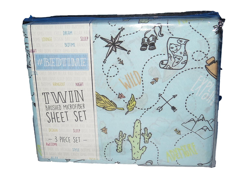 #Bedtime Adventure Map Wild Print Blue TWIN 3 Pc Sheet Set