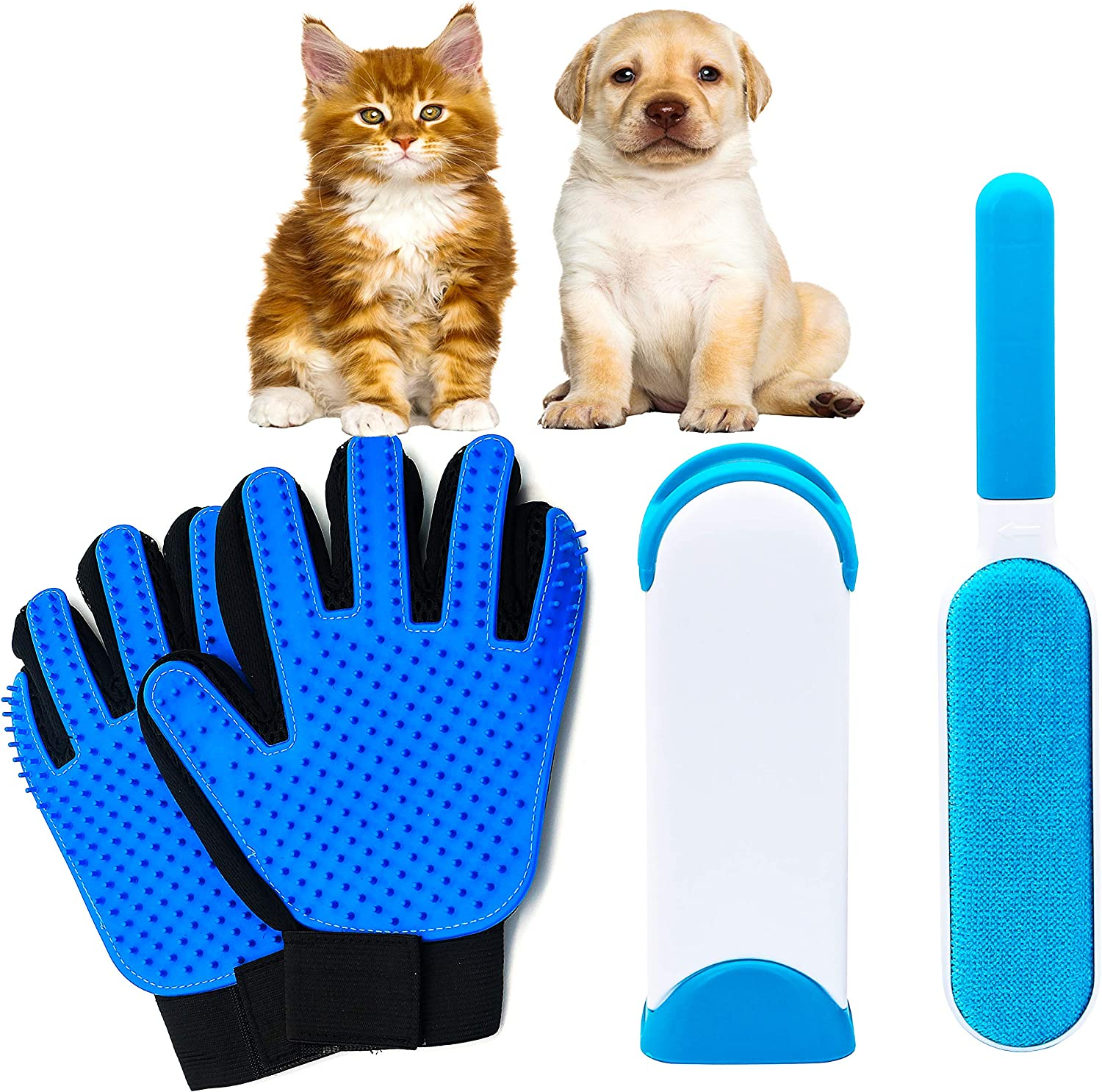 Dog Hair Remover - Pet Hair Remover -Set with Silicone Shedding Mitt - Reusable Double Side - Pet Fur Remover - Self Cleaning Brush – pet Grooming Gloves for Cats and Dogs – 3 pet Hair Removal Tools