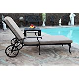 Sienna Collection Cast Aluminum Powder Coated Chaise Lounge with Lite Brown Seat Cushion
