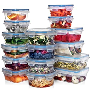 Shazo (16 PACK) Food Storage Containers w/Airtight Lids - Microwave/Refrigerator/Freezer/Dishwasher Safe - BPA/PVC Free Plastic - Small & Large Round, Square & Rectangle Containers + Measuring Spoons