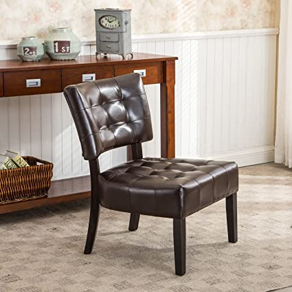 Roundhill Furniture Blended Leather Tufted Accent Chair With Oversized  Seating, Brown