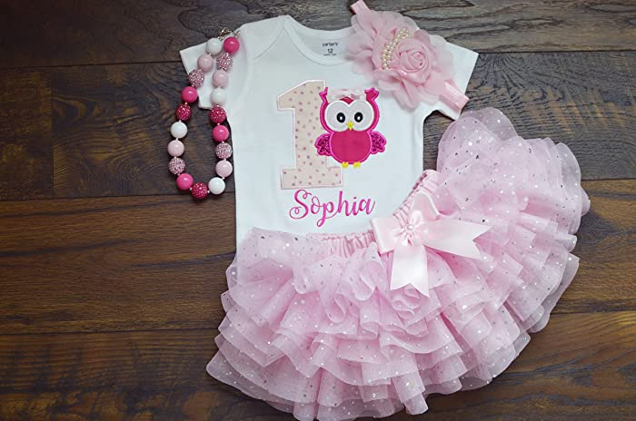 Amazon Handmade First Birthday Outfit For Girlsowl Cake Smash Outfitone Year Old Girl
