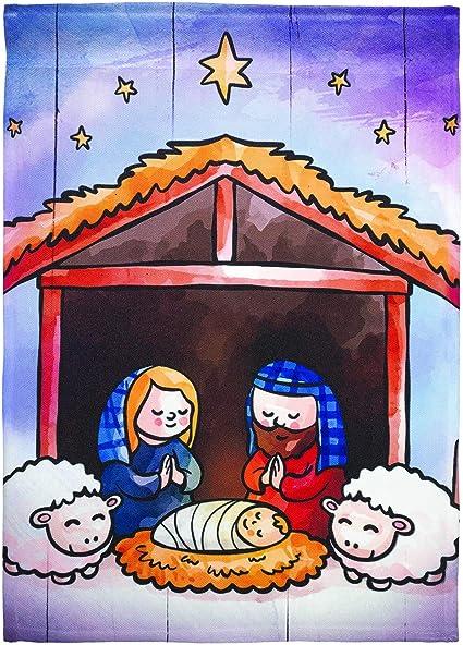 Holy Family W//Animals Nativity Scene 29 x 42 Large Christmas House Flag