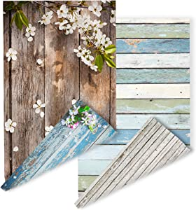 2 Pieces Pack Double Sided Background 4 Patterns Blooming Flowers on Weathered Blue Grunge Wood Grainy Background for Jewelry Shops Photos Cake Food Photography PoshMark Items Online Seller Backdrop