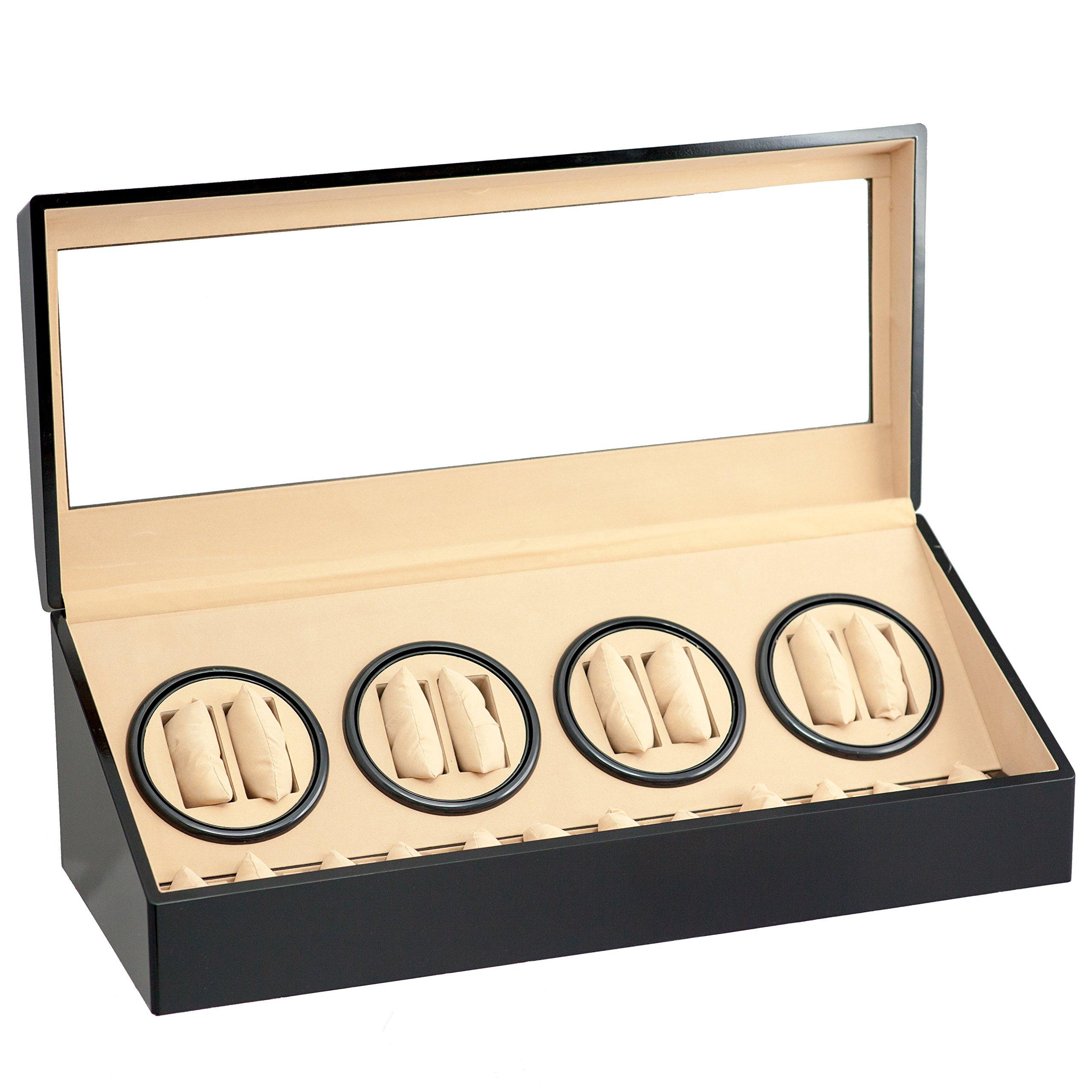 Brand New 8+12 Automatic Rotation Black Wood Quad Watch Winder Storage Display Case Box Organizers by WatchBuddy