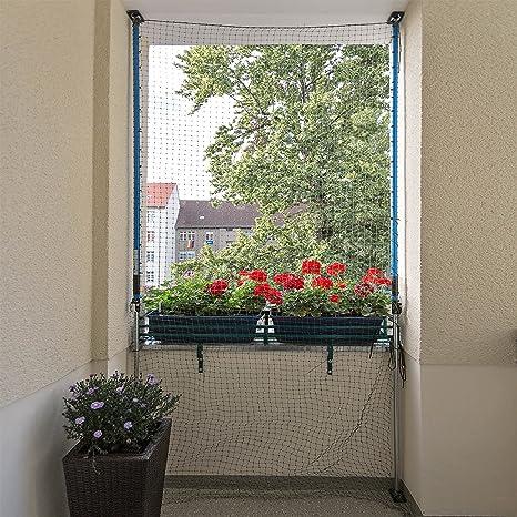 ALLEGRA Katzennetz für Balkon oder Fenster, Katzenschutznetz mit Halterung, Set mit Netz + 2X Teleskopstange ohne Bohren zum