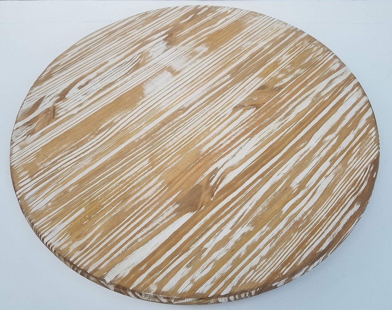 Large Distressed Wooden Lazy Susan Turntable Dessert 24