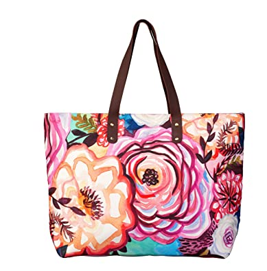 6e98f9c482ba Amazon.com: Studio M Elements Fire-Floral Women's Large Shoulder ...