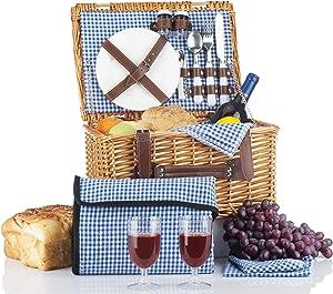 Picnic Basket Set - 2 Person Picnic Hamper Set - Waterproof Picnic Blanket Ceramic Plates Metal Flatware Wine Glasses S/P Shakers Bottle Opener Blue Checked Pattern Lining Picnic Set | Picnic Tote