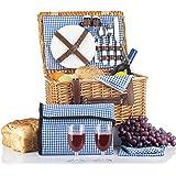 Picnic Basket Set - 2 Person Picnic Hamper Set - Waterproof Picnic Blanket Ceramic Plates Metal Flatware Wine Glasses S/P Sha