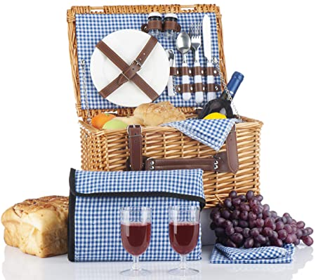 Picnic Basket Set – 2 Person Picnic Hamper Set – Waterproof Picnic Blanket Ceramic Plates Metal Flatware Wine Glasses S P Shakers Bottle Opener Blue Checked Pattern Lining Picnic Set Picnic Tote