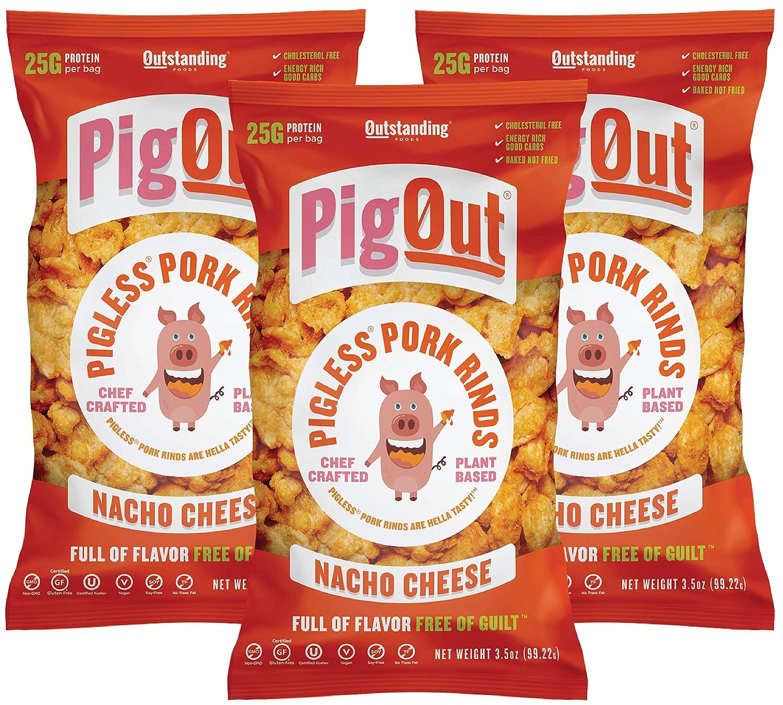 PigOut Pigless Pork Rinds, Nacho Cheese | Plant Based, High Protein, Low Calorie | Gluten Free, Kosher, Non-GMO | 3.5oz, 3 Pack