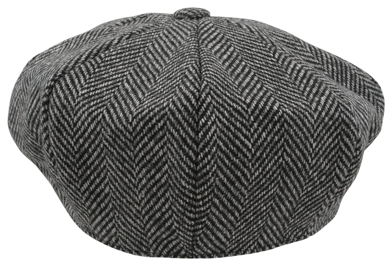 Atano Mens Herringbone Bakers Boy Cap Black Mix 60cm  Amazon.co.uk  Clothing d72ccf4ec0c0