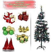 Zest 4 Toyz 3 Feet Christmas Pine Tree with 2 Santa Cap & 100 Pcs Tree Decoration Set for Christmas Home Decor (Balls, Bells, Gifts, Drums, Candy Sticks & Santa Claus)