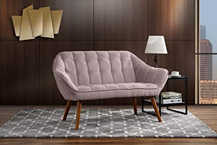 Review Couch for Living Room, Tufted Linen Fabric Love Seat (Pink)